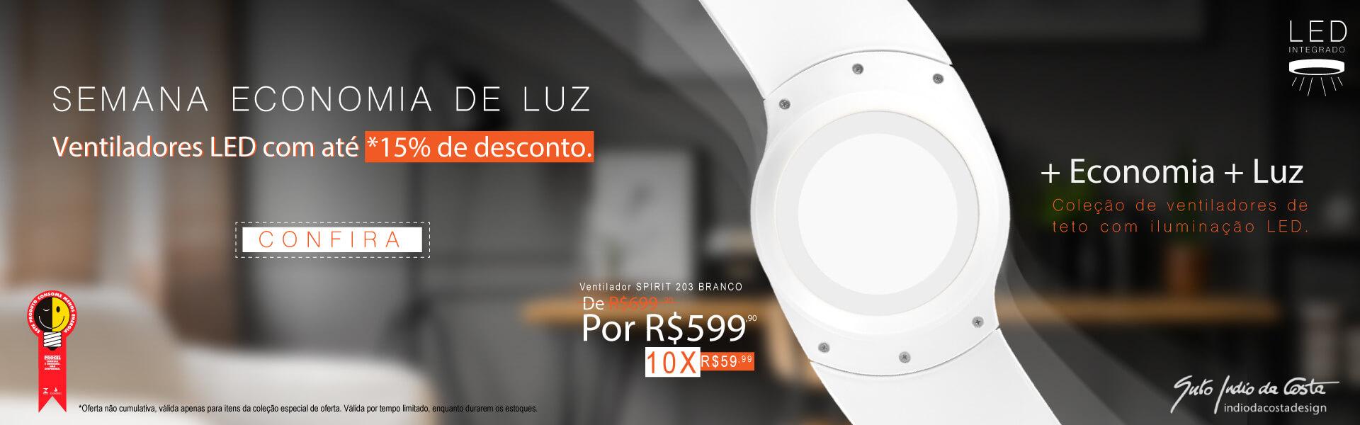 Semana Economia de Luz: Até 15% OFF em ventiladores com LED