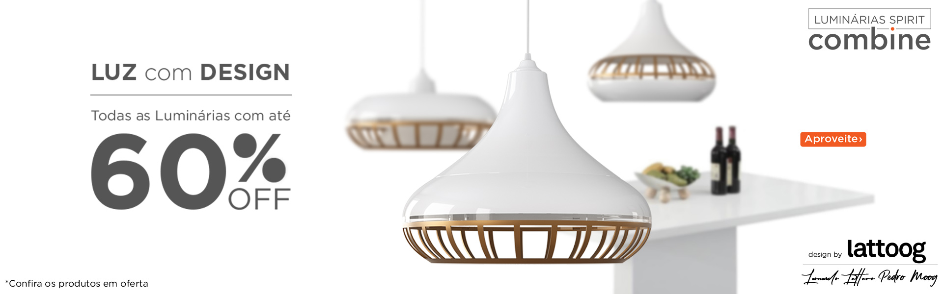Luz com Design - Promoção Luminárias Pendentes SPIRIT Combine