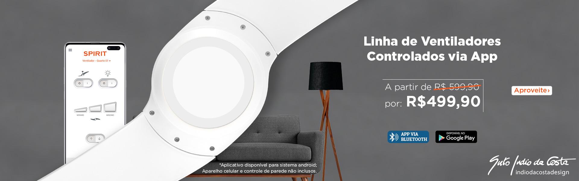 Promoção ventilador de teto controlado via Bluetooth